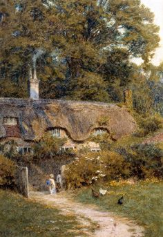 Cottage At Farringford, Isle Of Wight Art Print by Helen Allingham - WorldGallery.co.uk