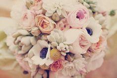 Peonies, ranunculuses, anemones, succulents, roses (aka dream bouquet)