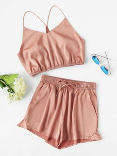 Y-Back Elasticized Crop Cami And Shorts Set. Mode Femmes ChicsTwo Piece  OutfitPajamasPjsCasual ... a0bb7620a