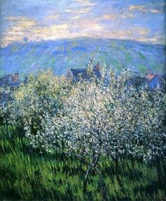 Claude Monet, French, Impressionism, 1840-1926, Plums Blossom, Pruniers en Fleurs, 1879. Oil on canvas, 65 x 54 cm.: