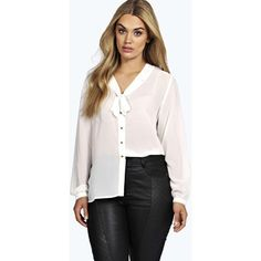 Boohoo Plus Plus Eleanor Pussybow Shirt ($35) ❤ liked on Polyvore featuring tops, cream, sleeve shirt, shirt top, crop top, shirt crop top and structured crop top