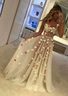 Beautiful A-line Floor-length Flower Prom Dresses,Sexy White Evening Dress