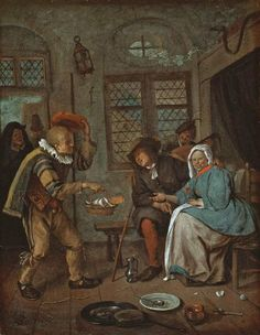 Interior with figures  Maker: Steen, Jan; painter; Dutch artist, 1625/6-1679