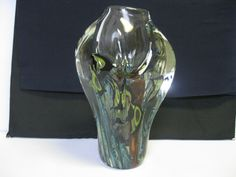 David Lotton Art Glass Hand Blown Crystal Blue Black Yellow and Red Fish Vase - Other