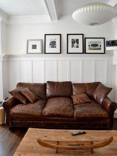 Squashy leather sofa.