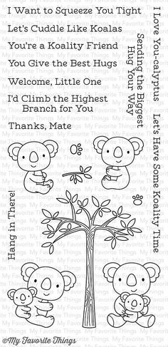 """MFT STAMPS: Cuddly Koalas (4"""" x 8.5"""" Clear Photopolymer Stamp Set) This package includes Cuddly Koalas, a 19 piece set including: - Koalas (4) 1 ¼"""" x 1 ¼"""", 1 ¼"""" x 1 ¼"""", 1 3/8"""" x 1 ½"""", 1 3/8"""" x 1 ½"""", T Friends Hugging, Animal Doodles, Mft Stamps, Digital Stamps, Animal Drawings, Drawing Animals, Clear Stamps, Clipart, Word Art"""