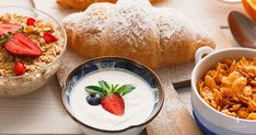 Buy Traditional french breakfast menu closeup by Prostock-studio on PhotoDune. Yogurt with fresh berries, cup of coffee, muesli and croissants on wooden . Brunch Menu, Breakfast Buffet, Breakfast Recipes, Brunch Wedding, Wedding Book, Bridal Make Up, Wedding Make Up, Colorful Fruit, Desserts To Make