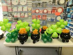 Balloon decor centerpieces for St. Pat's Day event, Shamrocks and pot of gold