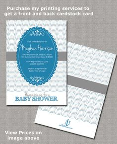 Baby Boy Shower Invitations Printable Super cute but with navy blue.