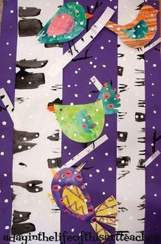 A day in the life of this art teacher: Birds and Birch Trees Winter Art Project Winter Art Projects, Art Projects For Adults, School Art Projects, Winter Project, Winter Craft, Kindergarten Art, Preschool Art, Art Disney, 4th Grade Art