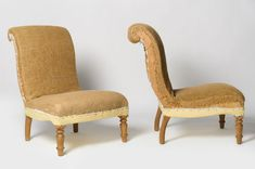 Antique French pair of slipper chairs - Decorative Collective Antiques Online, Selling Antiques, Slipper Chairs, French Chateau, Yellow Fabric, House Numbers, Stores, French Antiques, Accent Chairs