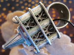 Old Berber Huge Silver Hair Ornament Perfume Ring by TuaregJewelry