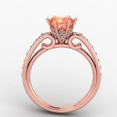14K Rose Gold Diamond Engagement Ring,wedding ring with Morganite Center   - Style52RGDMO