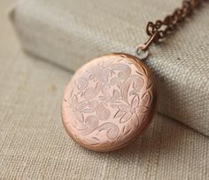 Antiqued copper photo locket, which can be made on any length of copper plated chain, 14 - 36 choose at checkout. Locket just over 1 (28mm) Also made