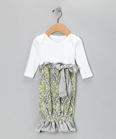 Do ---  Take a look at this Caught Ya Lookin' Green & Gray Damask Gown - Infant on zulily today!