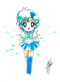 Chibi Sailor Mercury | art by Marco Albiero; from the Sailor Moon Thailand Fanclub Facebook Page