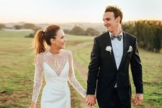 Stunning Meghan wears a Bespoke gown featuring the Zoey bodice, Prea skirt and Arielle lace Top. Karen Willis Holmes