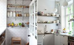 Image of: white subway tile kitchen with vintage kitchen Black Kitchen Countertops, White Kitchen Cabinets, Kitchen Flooring, White Kitchens, Kitchen Pantry, White Subway Tiles, Subway Tile Kitchen, Vintage Tile, Vintage Kitchen