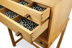 Haberdashery / collectors drawer chest with hand cut joinery, matching flower drawer linings, sorting divisions and folded leather finger pulls. Harvey Furniture, Haberdashery, Craft Items, Chest Of Drawers, Joinery, Wooden Boxes, Sorting, Wine Rack, Finger