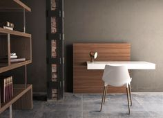 Walker desk by modloft. White lacquer and walnut.