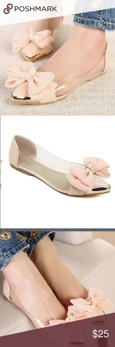 PINK BOW BALLERINAS New with out tags. Never used. Beautiful soft pink bow. No trades. No PP. Shoes Flats & Loafers