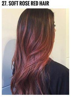 41 Hottest Balayage Hair Color Ideas for 2016 soft rose red Ombré Hair, New Hair, Red Balayage Hair, Balayage Hairstyle, Rose Gold Bayalage, Bayalage Red, Rose Gold Balayage Brunettes, Cabelo Rose Gold, Pink Hair