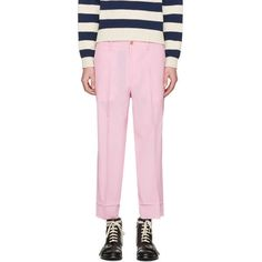 Gucci Pink Short Loose Trousers ($815) ❤ liked on Polyvore featuring men's fashion, men's clothing, men's pants, men's casual pants, pink, mens pink pants, mens loose fit cargo pants, mens short pants, vintage mens pants and mens elastic waistband pants