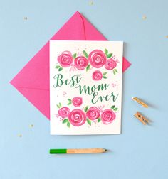 Bright pink rose blooms watercolor flowers Mother's Day Card by artist Michelle Mospens - www.mospensstudio.com