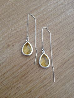 Sterling Silver Earwires with yellow glass pendant , handmade jewelry