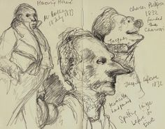 A collection of Honore Daumier's sculptural heads of leading political figures in 19th century France
