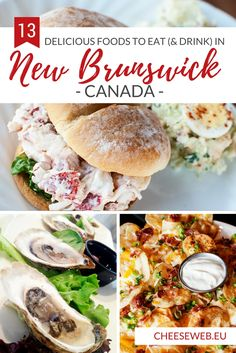 We share 13 foods you have to eat when you visit New Brunswick, Canada; from fresh, local lobster to fiddlehead ferns and even tasty seaweed. Canadian Travel, Canadian Food, Canadian Recipes, East Coast Canada, Acadie, New Brunswick Canada, Atlantic Canada, Mouth Watering Food, Foods To Eat