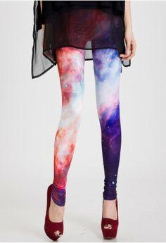 Galaxy Print Leggings in Red