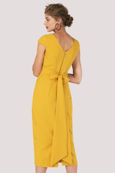 65155ea36b9 Be a trendsetter in this maxi bow pencil dress! Build your trendy mustard  yellow clothing