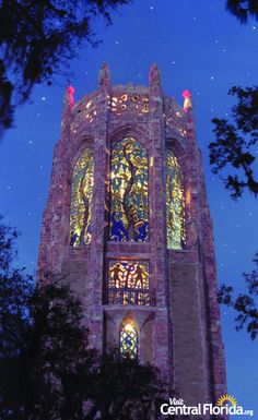Bok Tower lit up in the night sky- Lake Wales, FL, Central Florida
