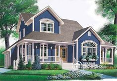 Browse cool wrap around porch house plans today! We offer open floor plans, country farmhouses, small one story ranch homes & more with wrap around porch. Style At Home, Country Style House Plans, Cottage House Plans, Cottage Homes, Farmhouse Plans, Farmhouse Design, Country Farmhouse, Drummond House Plans, Home Fashion