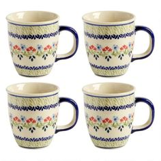 One of my favorite discoveries at ChristmasTreeShops.com: Polish Pottery Flower Meadow Mugs, Set of 4