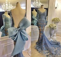 Sexy Sheer Lace Prom Dresses With Long Sleeve