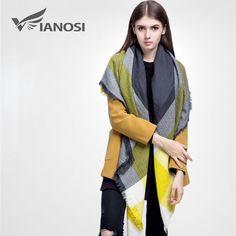 [VIANOSI] alta calidad de la bufanda a cuadros de las mujeres Espesar Invierno Suave bufanda Chales y Bufandas de La Manera DS033