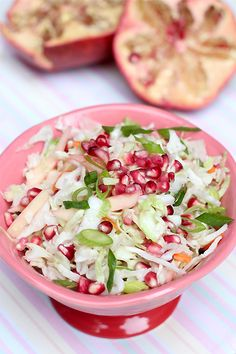 Pinner said: Pomegranate coleslaw! I made this to go with a brisket for Rosh Hoshana. I have a family who doesn't like mayonnaisy coleslaw, so I thought they might like this. I did NOT expect my 13 year old to eat nearly the entire thing on his own! Andrew Zimmern, Kosher Recipes, Cooking Recipes, Healthy Recipes, Kosher Food, Feta, Coleslaw Salad, Jewish Recipes, Food Festival