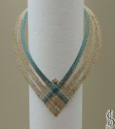 Necklace No. Blue and beige silk, golden metallic yarn. Protected by copyright! Lace Necklace, Lace Jewelry, Crochet Necklace, Fabric Yarn, Fabric Crafts, Diy Crafts, Lace Art, Ballroom Jewelry, Metallic Yarn