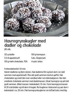 Havregrynskugler med dadler og chokolader