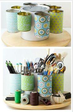 DIY Desk Organiser with tin cans!!