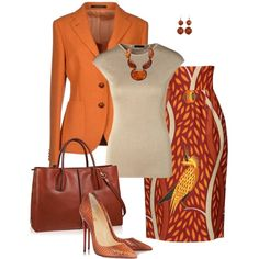 Orange Pop by snickersmother on Polyvore featuring ESCADA, Tagliatore, Stella Jean, Christian Louboutin, Tod's and Style & Co.