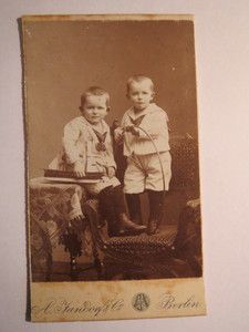 Vintage cabinet card of German twins