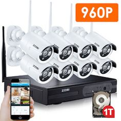 ZOSI 8CH CCTV System Wireless 960P NVR 8PCS 1.3MP IR Outdoor P2P Wifi IP CCTV Security Camera System Surveillance Kit 1TB HDD (32666155825)  SEE MORE  #SuperDeals