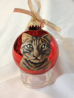 Tabby Cat Pet Portrait Christmas Gift Ornament by MeliaArts, $20.00
