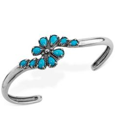 Genuine Turquoise (2-1/2 ct. t.w.) Cluster Cuff Bracelet in Sterling Silver | macys.com