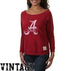 Original Retro Brand Alabama Crimson Tide Women's Open Neck Raglan Fleece Sweatshirt - Crimson