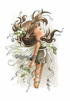 """""""Mistletoe Fairy"""" designed by Sylvia Zet © Wee Stamps for Whimsy Stamps Deeply etched rubber mounted on cling cushion foam, untrimmed. Approximate size in inches: x Whimsy Stamps, Digi Stamps, Cute Images, Cute Pictures, Adult Coloring, Coloring Pages, Beautiful Fairies, Fairy Art, Vintage Diy"""
