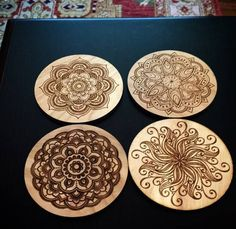 Indian mandala coaster all natural laser engraved Wood Engraved Coaster Set round c set Christmas gift Housewarming Present Coffee table – In-house Factory Wood Burning Crafts, Wood Burning Patterns, Wood Burning Art, Wood Crafts, Wood Art, Wood Wood, Diy Wood, Dremel Wood Carving, Arte Country